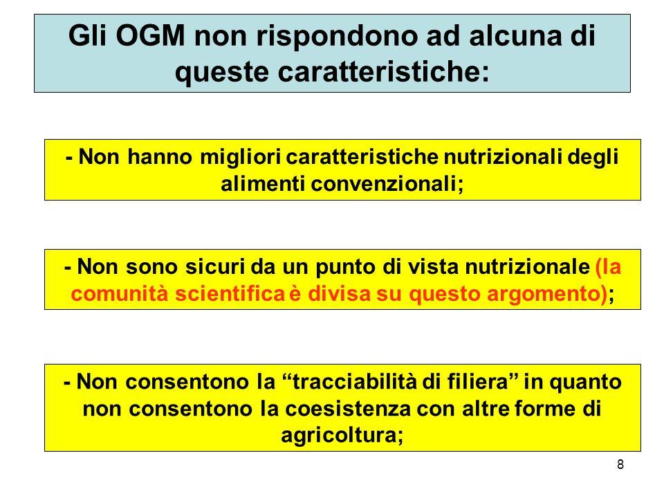 8 Gli OGM non rispondono ad alcuna di queste caratteristiche: - Non hanno migliori caratteristiche nutrizionali degli alimenti convenzionali; - Non sono sicuri da un punto di vista nutrizionale (la comunità scientifica è divisa su questo argomento); - Non consentono la tracciabilità di filiera in quanto non consentono la coesistenza con altre forme di agricoltura;