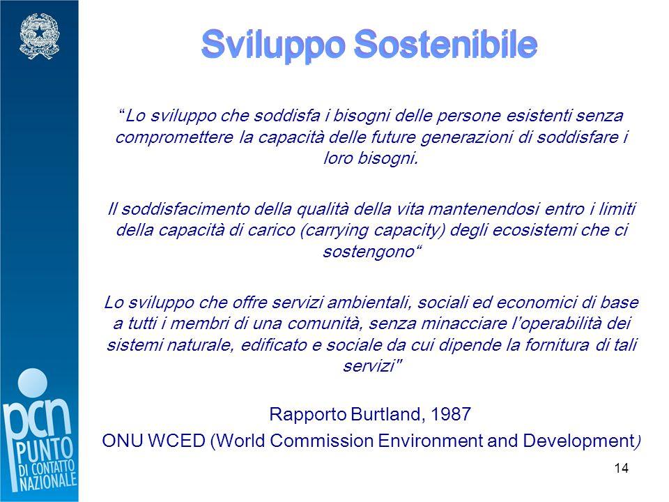 14 Sviluppo Sostenibile Lo sviluppo che soddisfa i bisogni delle persone esistenti senza compromettere la capacità delle future generazioni di soddisfare i loro bisogni.