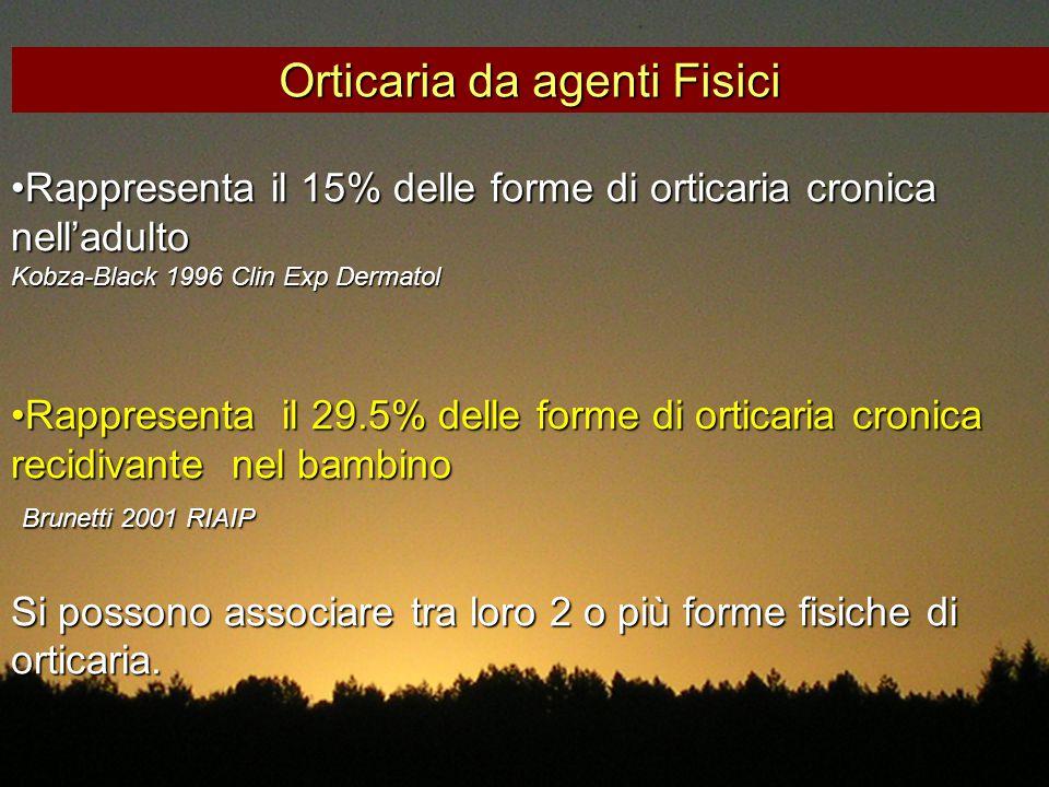 Rappresenta il 15% delle forme di orticaria cronica nell'adultoRappresenta il 15% delle forme di orticaria cronica nell'adulto Kobza-Black 1996 Clin E