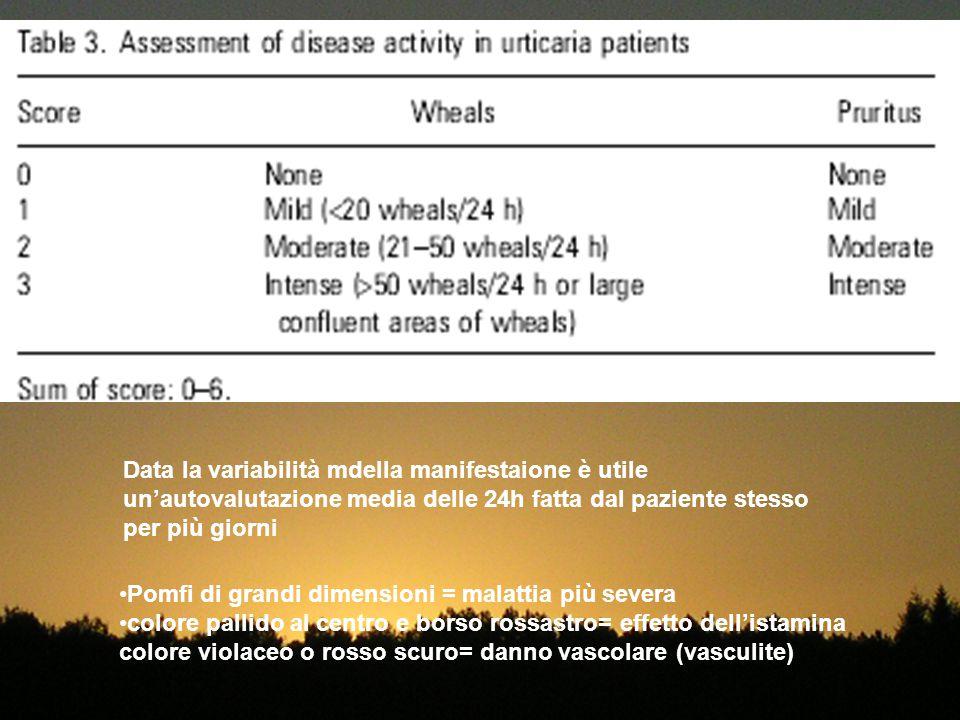 Data la variabilità mdella manifestaione è utile un'autovalutazione media delle 24h fatta dal paziente stesso per più giorni Pomfi di grandi dimension