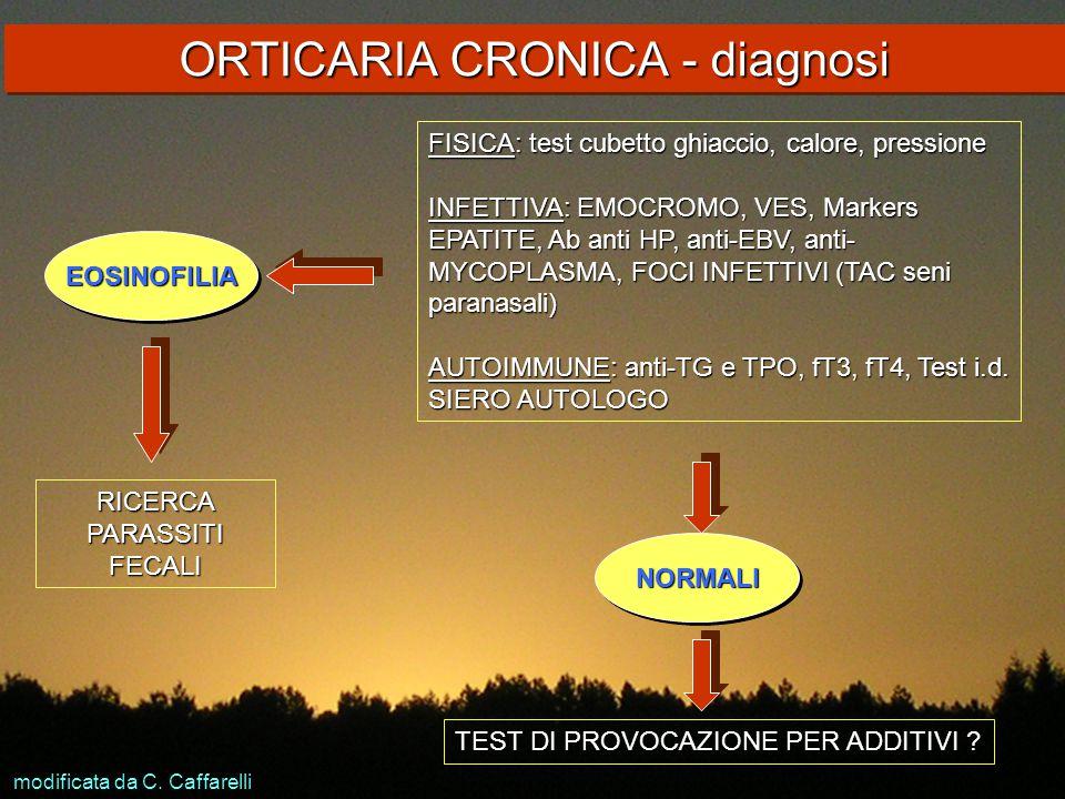 ORTICARIA CRONICA - diagnosi FISICA: test cubetto ghiaccio, calore, pressione INFETTIVA: EMOCROMO, VES, Markers EPATITE, Ab anti HP, anti-EBV, anti- M