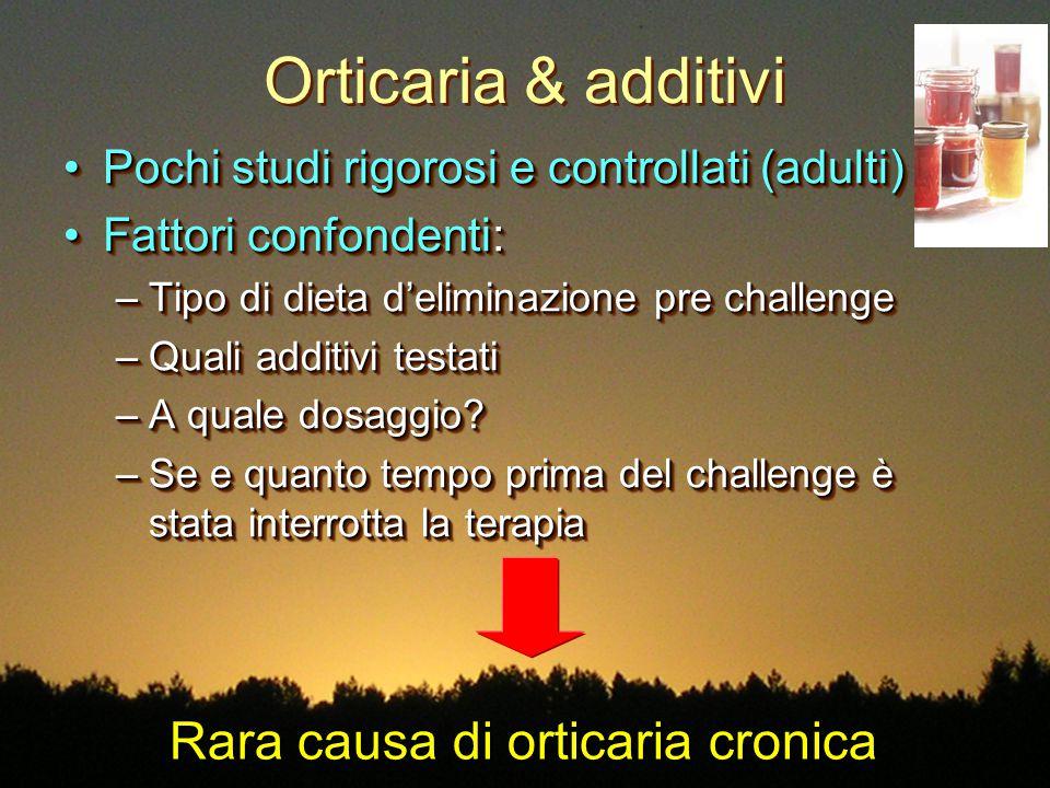 Orticaria & additivi Pochi studi rigorosi e controllati (adulti)Pochi studi rigorosi e controllati (adulti) Fattori confondenti:Fattori confondenti: –