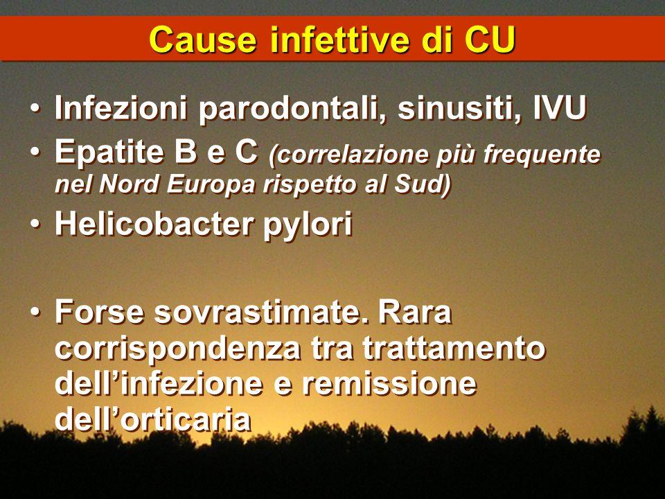 Cause infettive di CU Infezioni parodontali, sinusiti, IVU Epatite B e C (correlazione più frequente nel Nord Europa rispetto al Sud) Helicobacter pyl