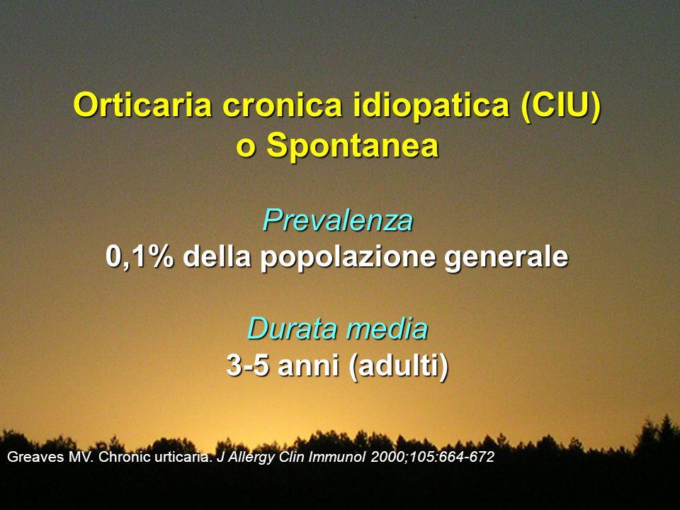 Orticaria cronica idiopatica (CIU) o Spontanea Prevalenza 0,1% della popolazione generale Durata media 3-5 anni (adulti) Greaves MV. Chronic urticaria