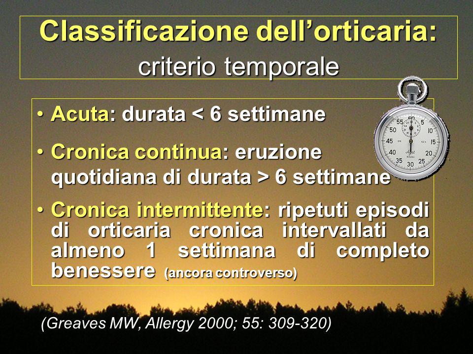 Classificazione dell'orticaria: criterio temporale Acuta: durata < 6 settimaneAcuta: durata < 6 settimane Cronica continua: eruzione quotidiana di dur