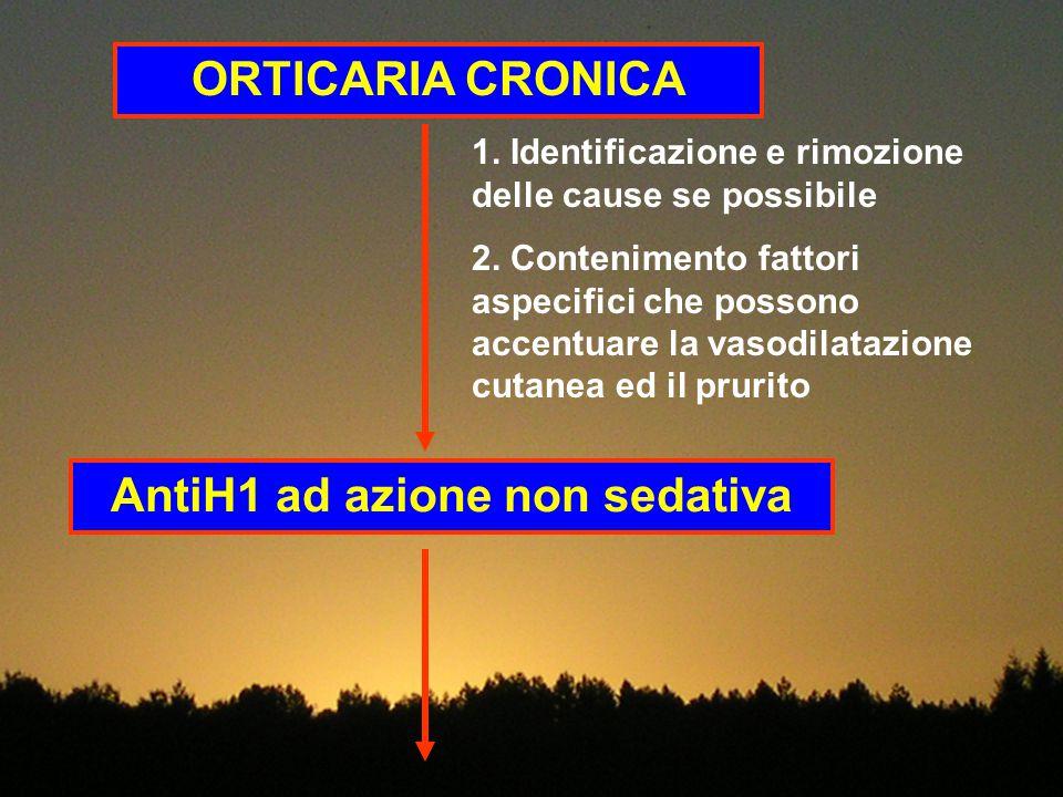 ORTICARIA CRONICA 1. Identificazione e rimozione delle cause se possibile 2. Contenimento fattori aspecifici che possono accentuare la vasodilatazione