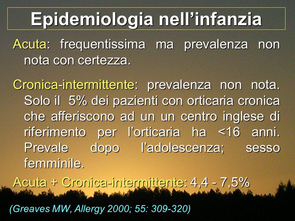 Epidemiologia nell'infanzia Acuta: frequentissima ma prevalenza non nota con certezza. Cronica-intermittente: prevalenza non nota. Solo il 5% dei pazi