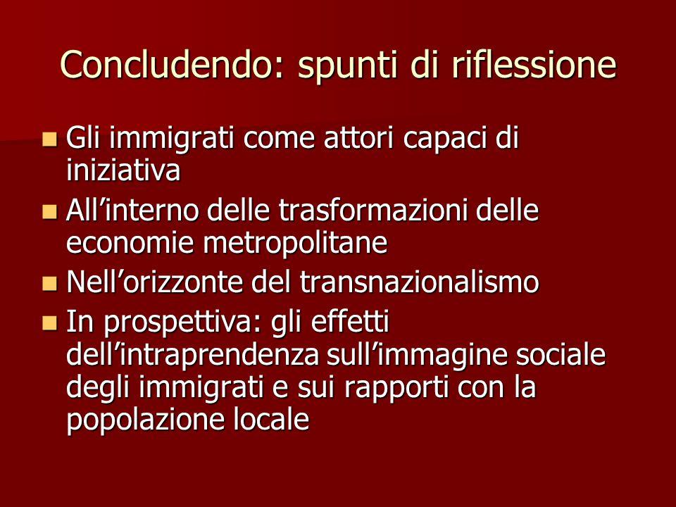 Concludendo: spunti di riflessione Gli immigrati come attori capaci di iniziativa Gli immigrati come attori capaci di iniziativa All'interno delle tra