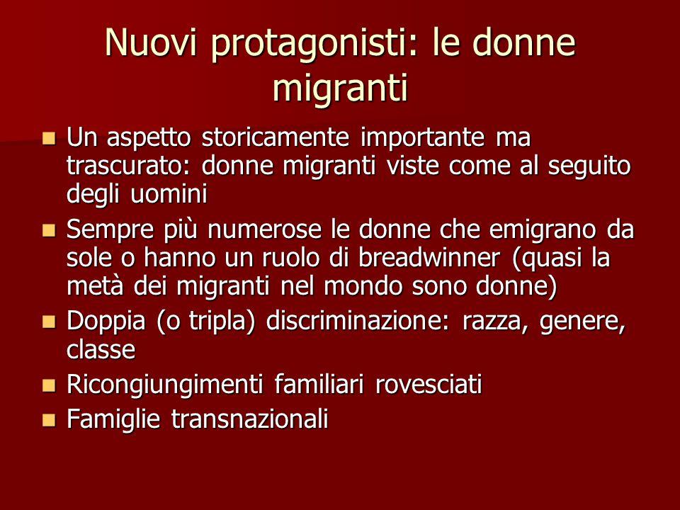 Nuovi protagonisti: le donne migranti Un aspetto storicamente importante ma trascurato: donne migranti viste come al seguito degli uomini Un aspetto s