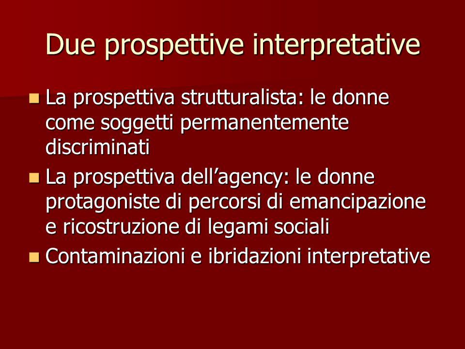 Due prospettive interpretative La prospettiva strutturalista: le donne come soggetti permanentemente discriminati La prospettiva strutturalista: le do
