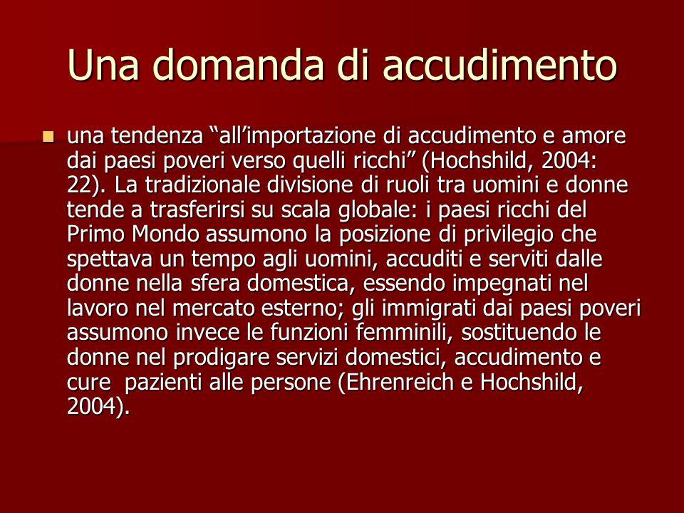 """Una domanda di accudimento una tendenza """"all'importazione di accudimento e amore dai paesi poveri verso quelli ricchi"""" (Hochshild, 2004: 22). La tradi"""