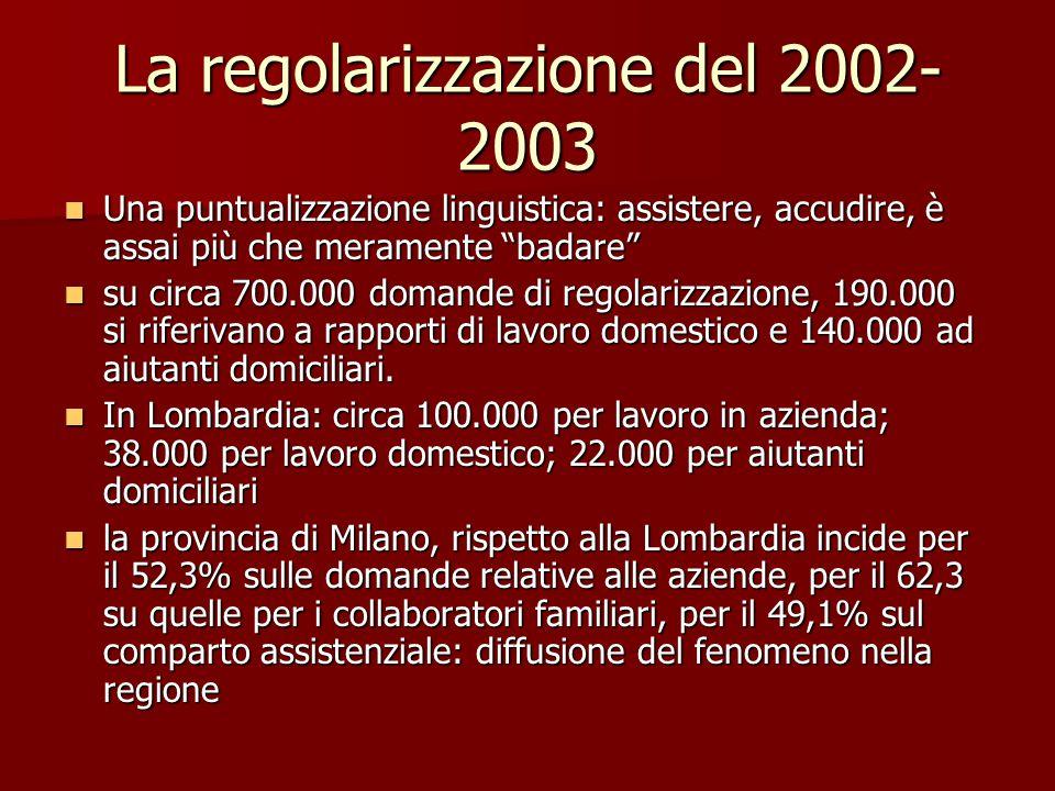 """La regolarizzazione del 2002- 2003 Una puntualizzazione linguistica: assistere, accudire, è assai più che meramente """"badare"""" Una puntualizzazione ling"""