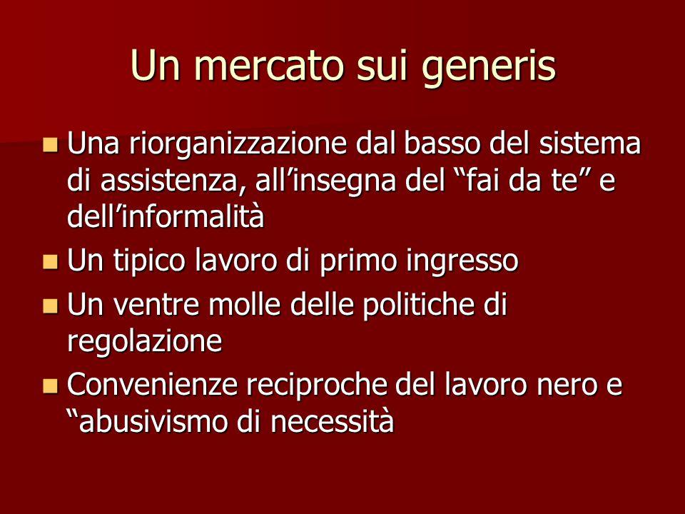 """Un mercato sui generis Una riorganizzazione dal basso del sistema di assistenza, all'insegna del """"fai da te"""" e dell'informalità Una riorganizzazione d"""