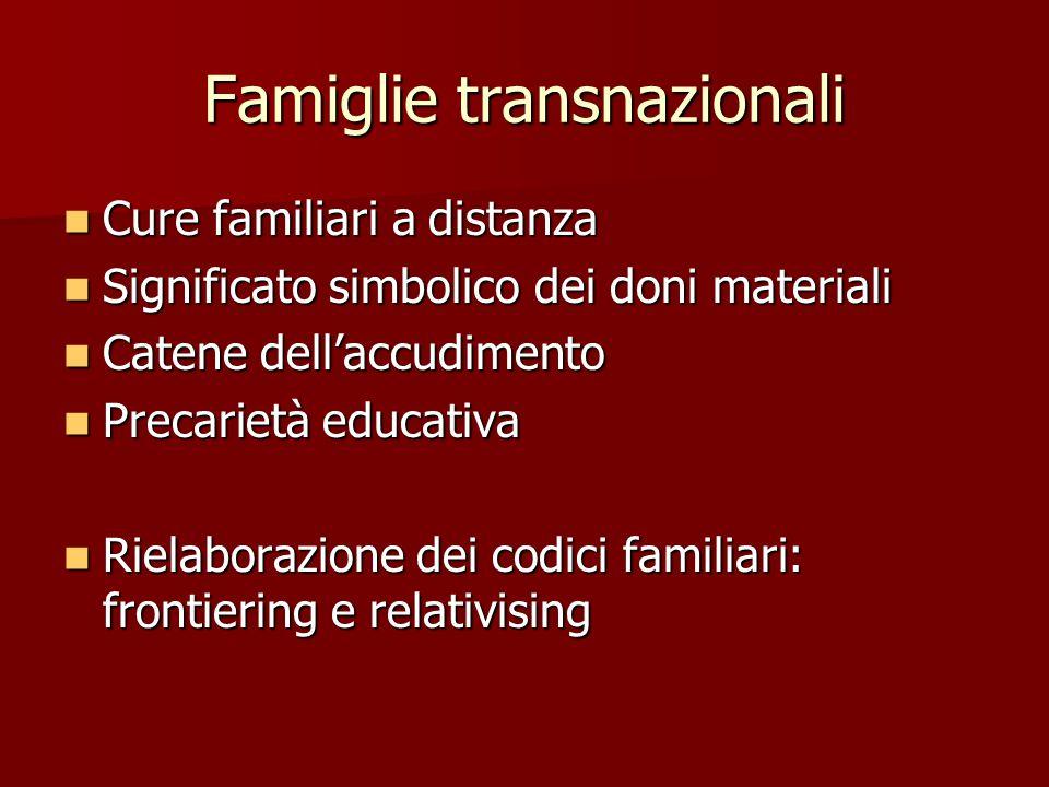 Famiglie transnazionali Cure familiari a distanza Cure familiari a distanza Significato simbolico dei doni materiali Significato simbolico dei doni ma