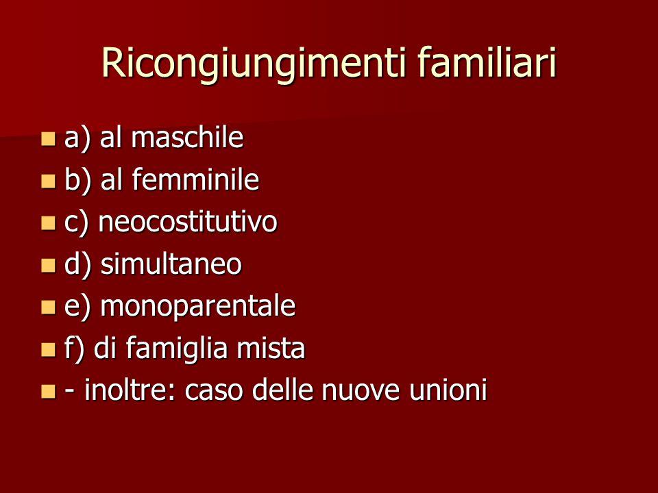 Ricongiungimenti familiari a) al maschile a) al maschile b) al femminile b) al femminile c) neocostitutivo c) neocostitutivo d) simultaneo d) simultan