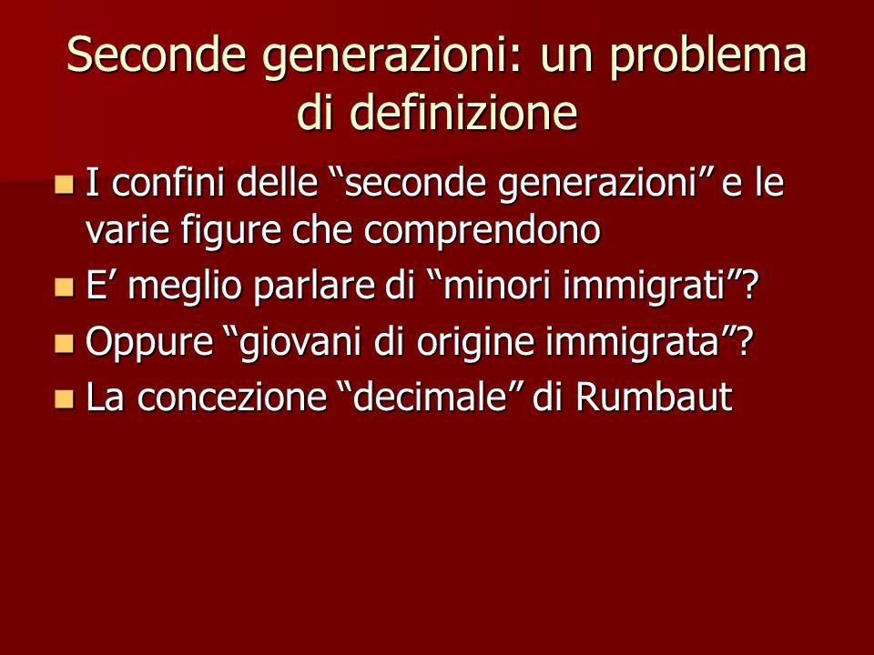 """Seconde generazioni: un problema di definizione I confini delle """"seconde generazioni"""" e le varie figure che comprendono I confini delle """"seconde gener"""
