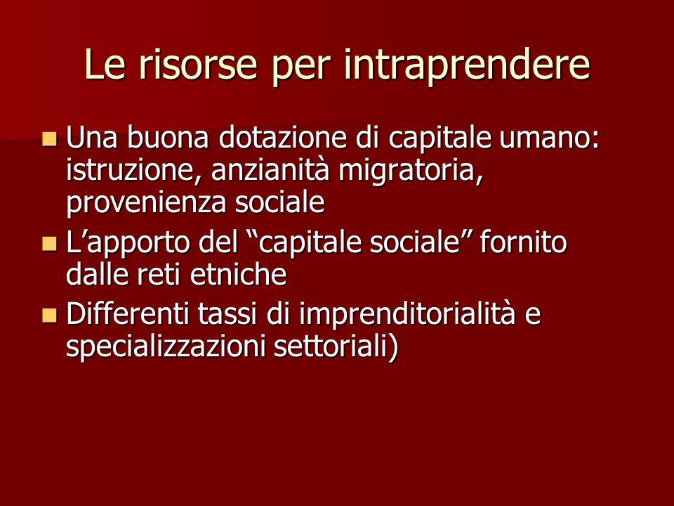 Le risorse per intraprendere Una buona dotazione di capitale umano: istruzione, anzianità migratoria, provenienza sociale Una buona dotazione di capit