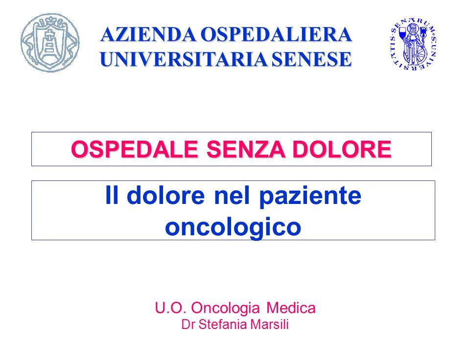 Il dolore nel paziente oncologico U.O. Oncologia Medica Dr Stefania Marsili AZIENDA OSPEDALIERA UNIVERSITARIA SENESE OSPEDALE SENZA DOLORE