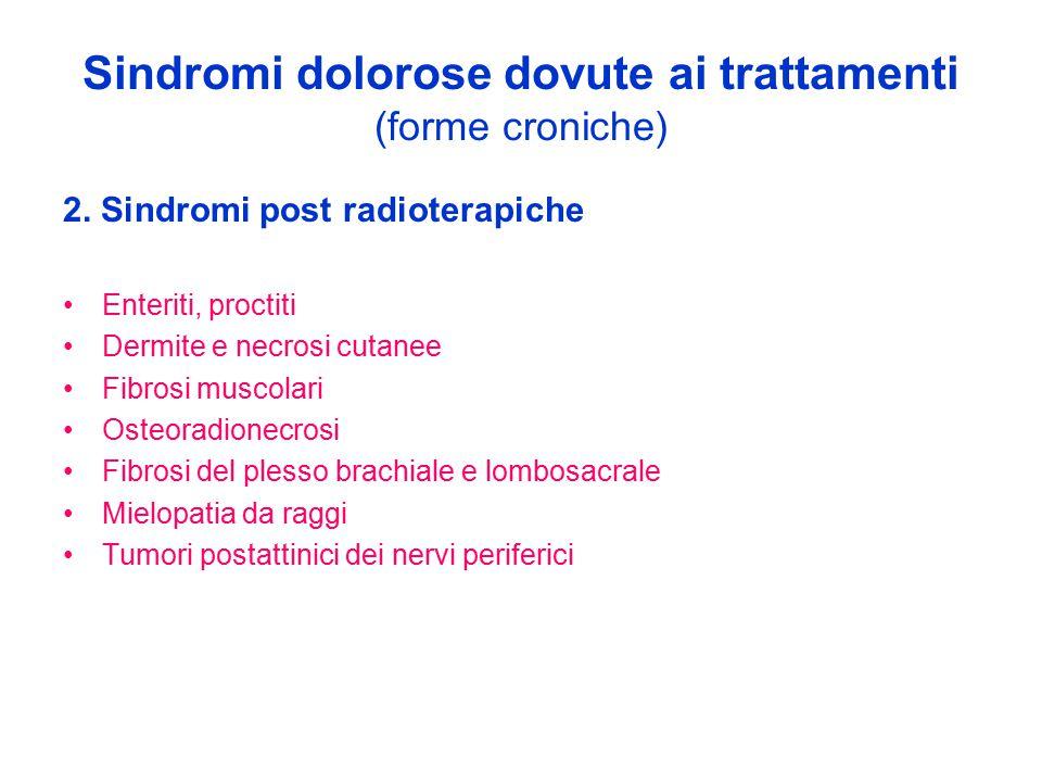 Sindromi dolorose dovute ai trattamenti (forme croniche) 2. Sindromi post radioterapiche Enteriti, proctiti Dermite e necrosi cutanee Fibrosi muscolar