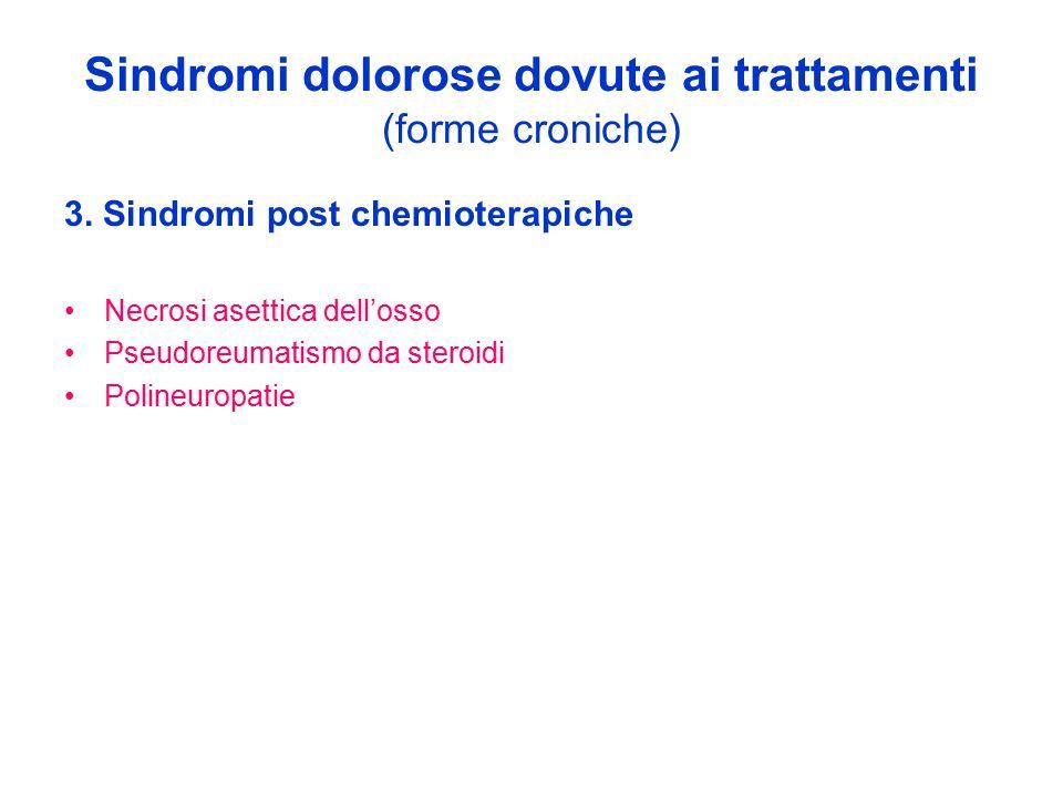 Sindromi dolorose dovute ai trattamenti (forme croniche) 3. Sindromi post chemioterapiche Necrosi asettica dell'osso Pseudoreumatismo da steroidi Poli