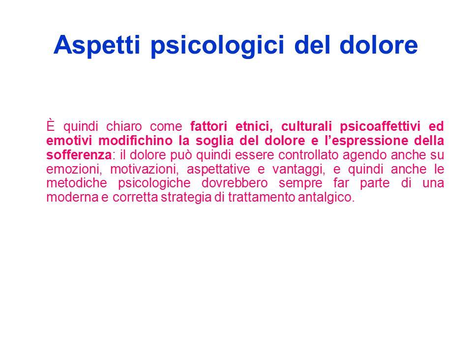 Aspetti psicologici del dolore È quindi chiaro come fattori etnici, culturali psicoaffettivi ed emotivi modifichino la soglia del dolore e l'espressio
