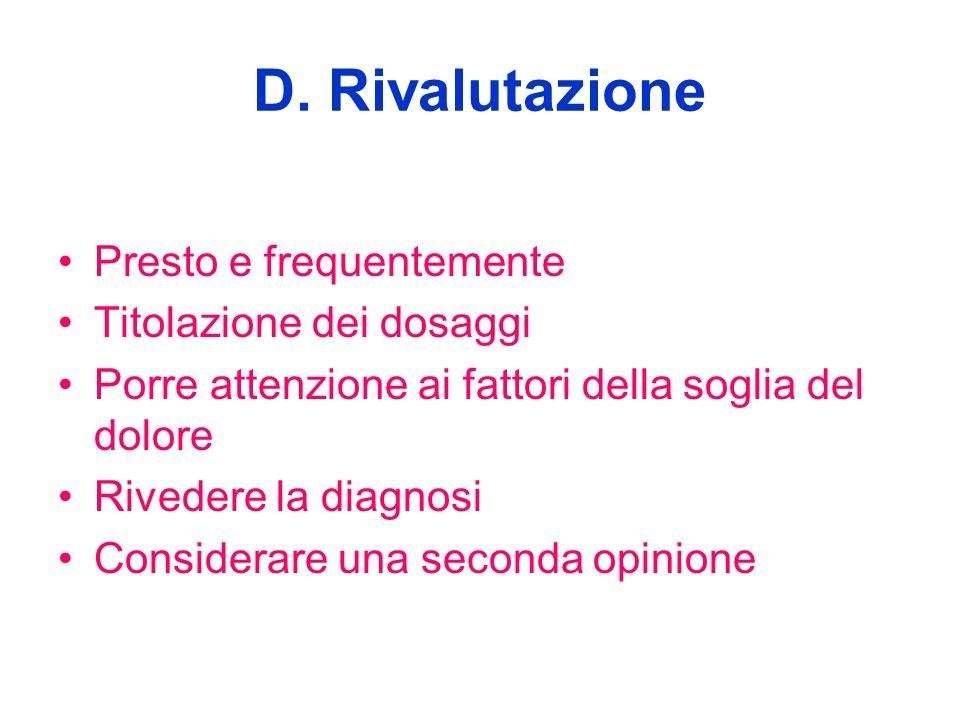 D. Rivalutazione Presto e frequentemente Titolazione dei dosaggi Porre attenzione ai fattori della soglia del dolore Rivedere la diagnosi Considerare