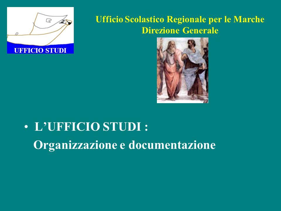 L'UFFICIO STUDI : Organizzazione e documentazione UFFICIO STUDI Ufficio Scolastico Regionale per le Marche Direzione Generale
