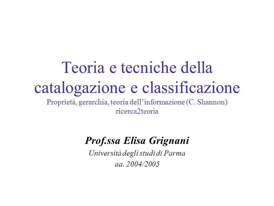 Teoria e tecniche della catalogazione e classificazione Proprietà, gerarchia, teoria dell'informazione (C. Shannon) ricerca2teoria Prof.ssa Elisa Grig