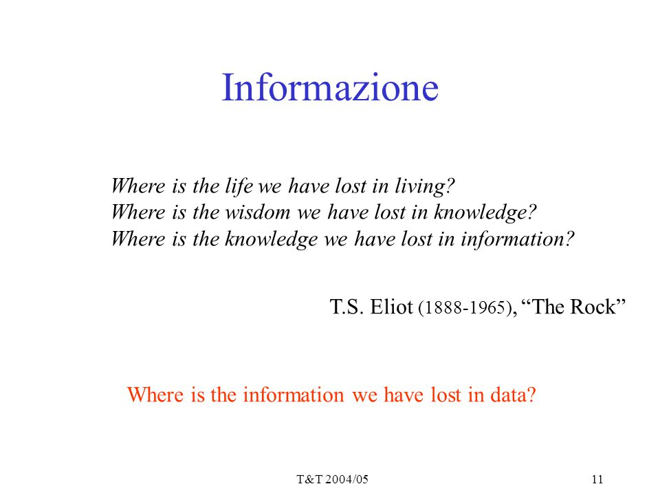 T&T 2004/0511 Informazione Where is the life we have lost in living.
