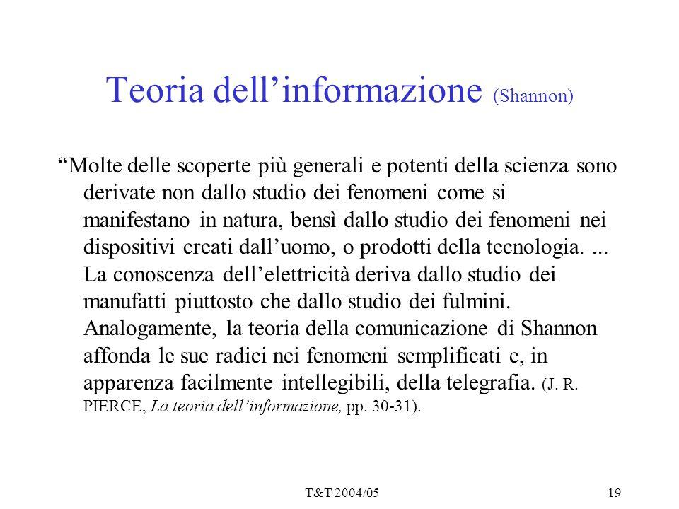 """T&T 2004/0519 Teoria dell'informazione (Shannon) """"Molte delle scoperte più generali e potenti della scienza sono derivate non dallo studio dei fenomen"""