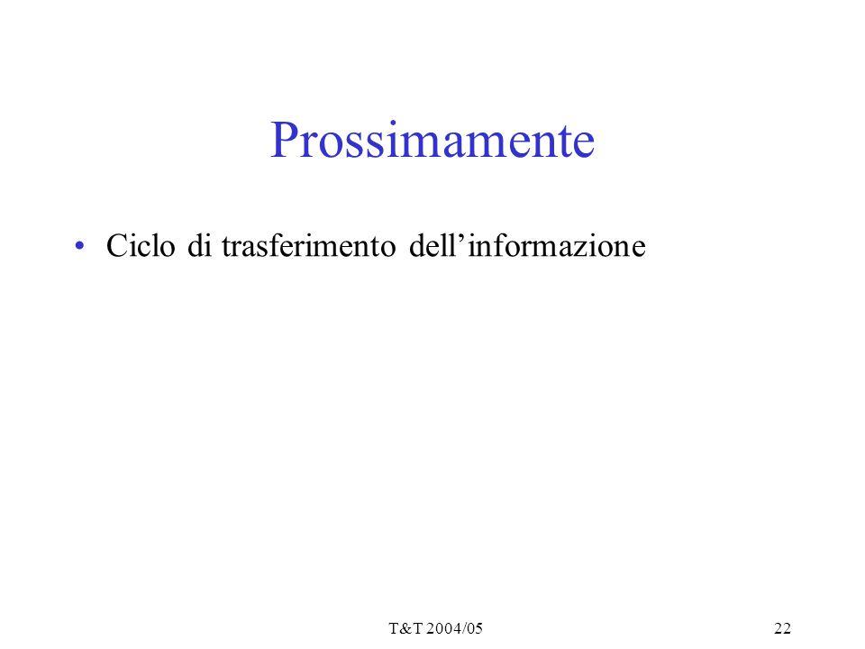 T&T 2004/0522 Prossimamente Ciclo di trasferimento dell'informazione