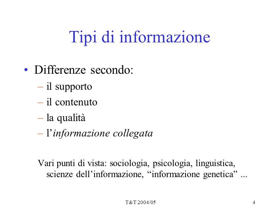 T&T 2004/054 Tipi di informazione Differenze secondo: –il supporto –il contenuto –la qualità –l'informazione collegata Vari punti di vista: sociologia