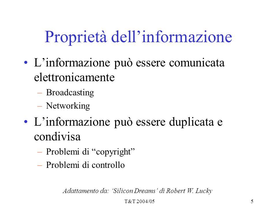 T&T 2004/055 Proprietà dell'informazione L'informazione può essere comunicata elettronicamente –Broadcasting –Networking L'informazione può essere dup