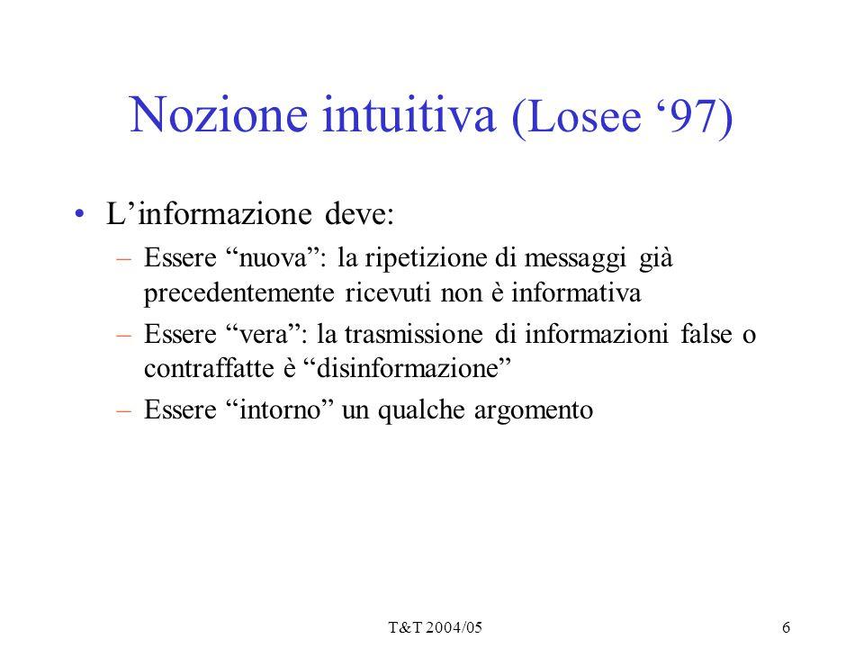 """T&T 2004/056 Nozione intuitiva (Losee '97) L'informazione deve: –Essere """"nuova"""": la ripetizione di messaggi già precedentemente ricevuti non è informa"""