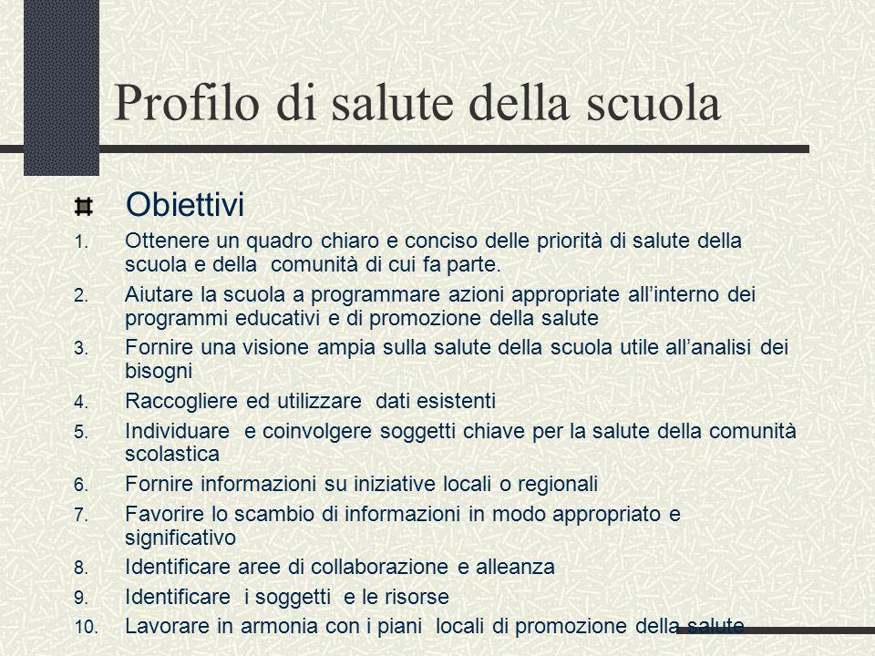 Profilo di salute della scuola Obiettivi 1.
