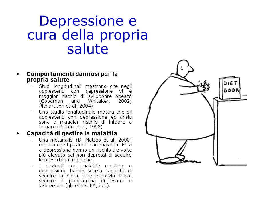 Comportamenti dannosi per la propria salute –Studi longitudinali mostrano che negli adolescenti con depressione vi è maggior rischio di sviluppare obe