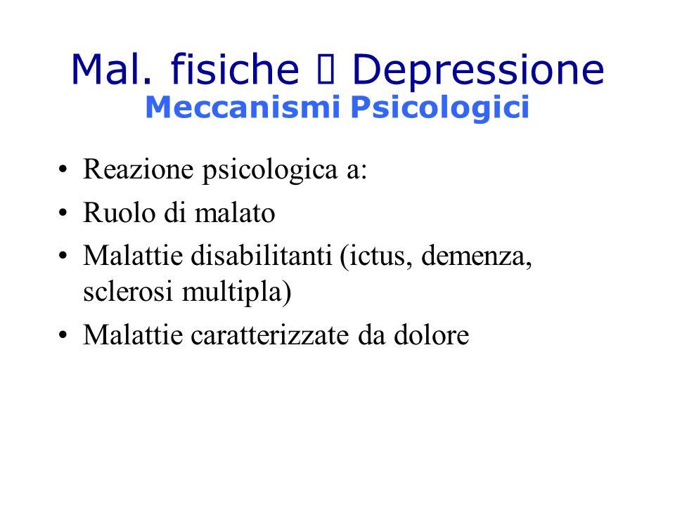 Mal. fisiche  Depressione Meccanismi Psicologici Reazione psicologica a: Ruolo di malato Malattie disabilitanti (ictus, demenza, sclerosi multipla) M