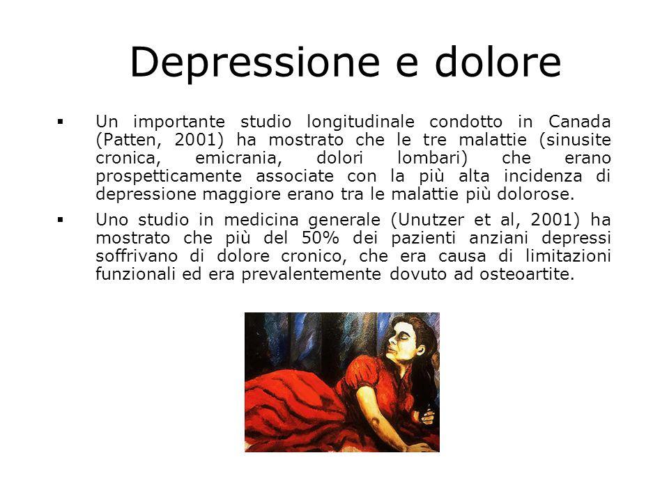 Depressione e dolore  Un importante studio longitudinale condotto in Canada (Patten, 2001) ha mostrato che le tre malattie (sinusite cronica, emicrania, dolori lombari) che erano prospetticamente associate con la più alta incidenza di depressione maggiore erano tra le malattie più dolorose.