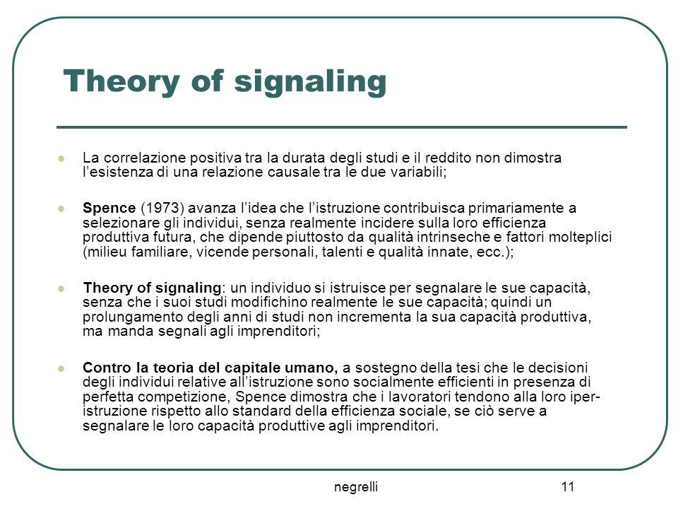negrelli 11 Theory of signaling La correlazione positiva tra la durata degli studi e il reddito non dimostra l'esistenza di una relazione causale tra