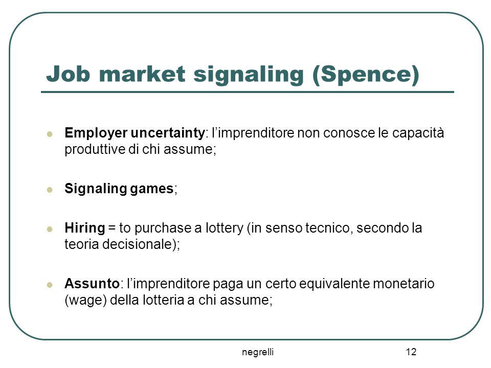 negrelli 12 Job market signaling (Spence) Employer uncertainty: l'imprenditore non conosce le capacità produttive di chi assume; Signaling games; Hiri