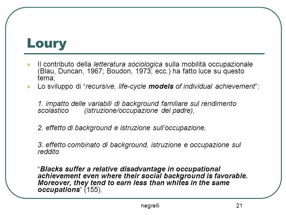 negrelli 21 Loury Il contributo della letteratura sociologica sulla mobilità occupazionale (Blau, Duncan, 1967; Boudon, 1973; ecc.) ha fatto luce su q