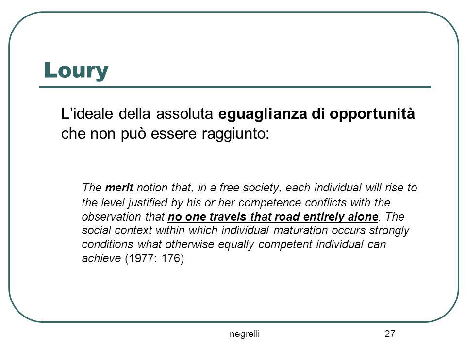 negrelli 27 Loury L'ideale della assoluta eguaglianza di opportunità che non può essere raggiunto: The merit notion that, in a free society, each indi