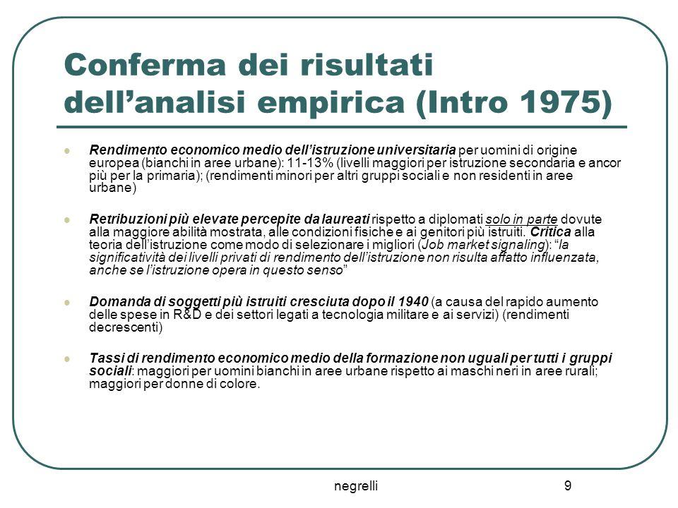 negrelli 9 Conferma dei risultati dell'analisi empirica (Intro 1975) Rendimento economico medio dell'istruzione universitaria per uomini di origine eu