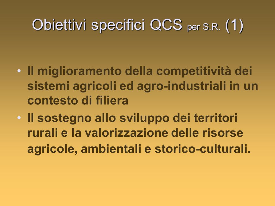 Obiettivi specifici QCS per S.R.