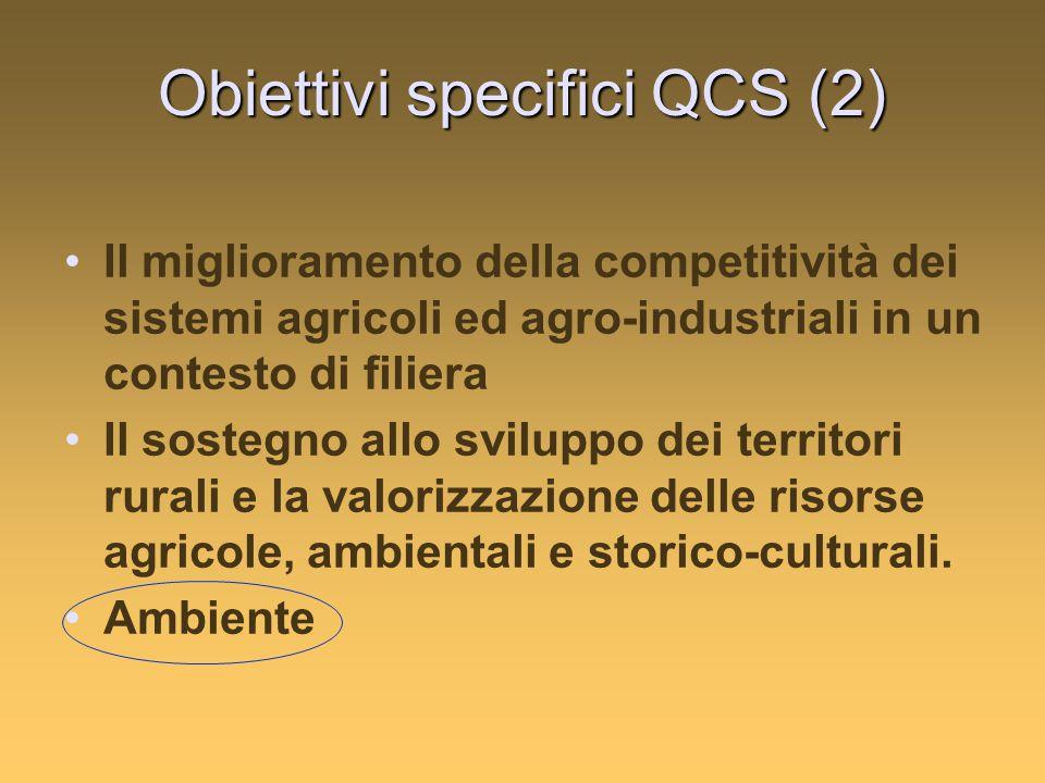 Obiettivi specifici QCS (2) Il miglioramento della competitività dei sistemi agricoli ed agro-industriali in un contesto di filiera Il sostegno allo sviluppo dei territori rurali e la valorizzazione delle risorse agricole, ambientali e storico-culturali.