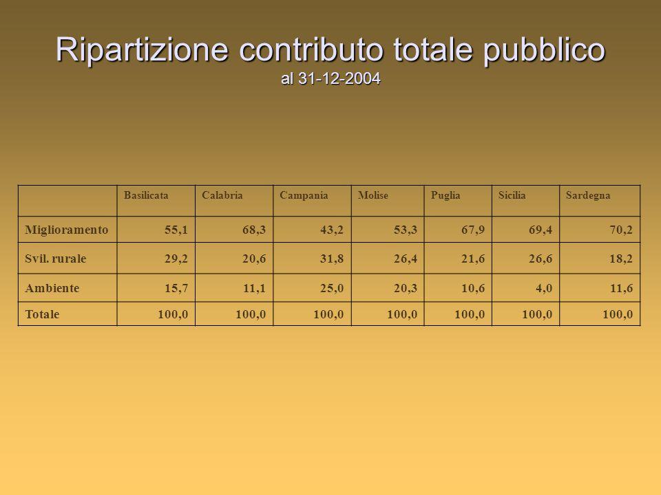 Ripartizione contributo totale pubblico al 31-12-2004 BasilicataCalabriaCampaniaMolisePugliaSiciliaSardegna Miglioramento55,168,343,253,367,969,470,2 Svil.