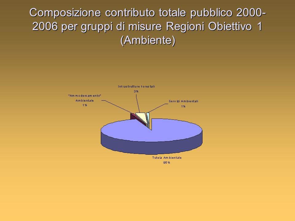 Composizione contributo totale pubblico 2000- 2006 per gruppi di misure Regioni Obiettivo 1 (Ambiente)