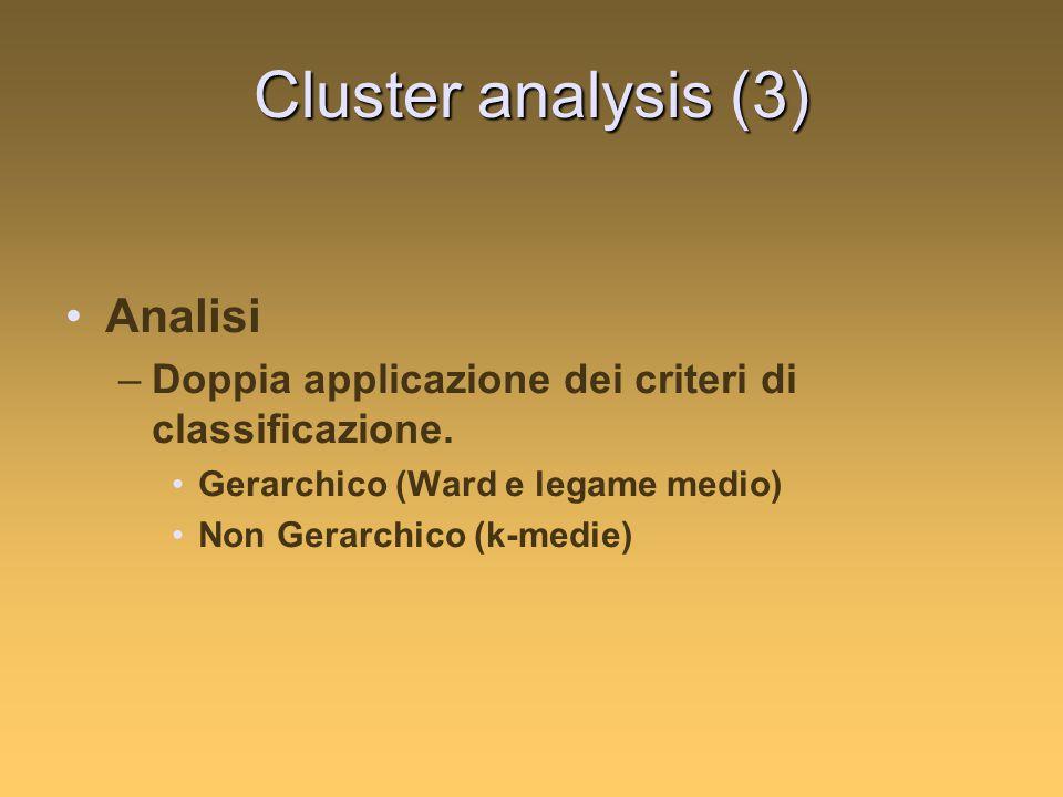 Cluster analysis (3) Analisi –Doppia applicazione dei criteri di classificazione.