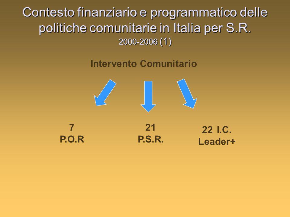 Contesto finanziario e programmatico delle politiche comunitarie in Italia per S.R.
