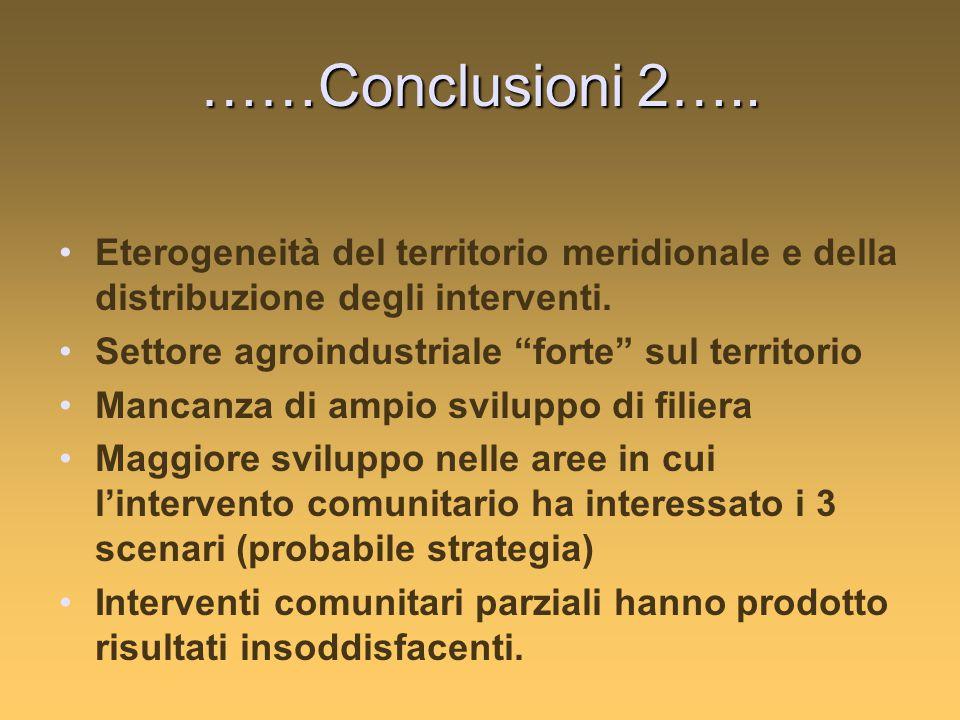 ……Conclusioni 2….. Eterogeneità del territorio meridionale e della distribuzione degli interventi.